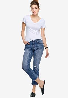 Cropped Slim Jeans by ellos®, MEDIUM SANDED DISTRESSED