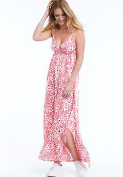 Carmen Woven Maxi Dress by ellos®, SUNSET CORAL WHITE PRINT