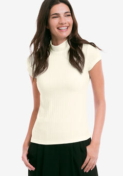 Ribbed Mock-Neck Top by ellos®,