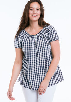 Gingham Peasant Tunic by ellos®,