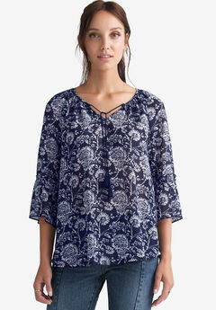 62a2f8a104f Sheer Bell Sleeve Tunic by ellos®