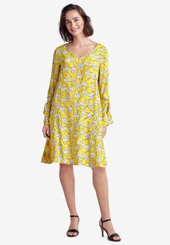 Tie-Sleeve A-Line Dress by ellos®,