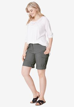 Convertible Cargo Shorts by ellos®, SLATE