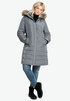 Faux Fur Trim Puffer, GUNMETAL