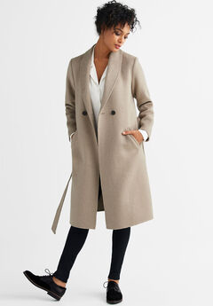 Double-Breasted Wool-Blend Coat by ellos®, SAND DUNE