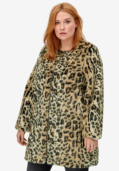 Leopard Print Faux Fur Coat by ellos®,
