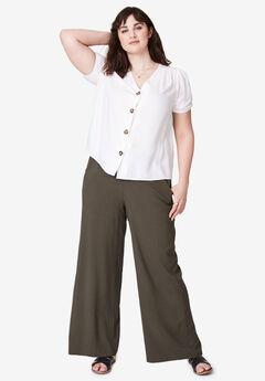 Wide-Leg Soft Pants by ellos®, DARK OLIVE