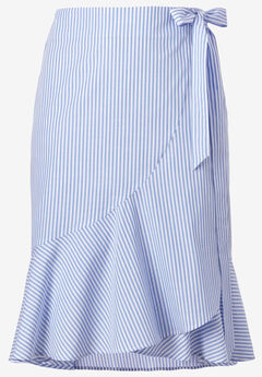 Print Wrap Skirt by ellos®, DUSTY CORNFLOWER STRIPE