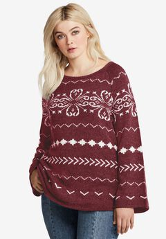 Patterned A-line Sweater,