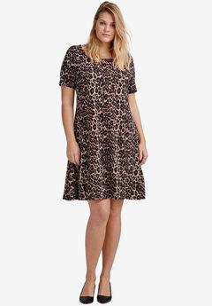 Short Sleeve A-Line Knit Dress by ellos®, NATURAL ANIMAL PRINT