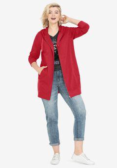Long Zip Front Hoodie, RADIANT RED
