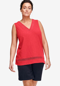 V-Neck Crochet Trim Tank by ellos®, CORAL RED