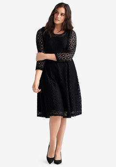 Fit & Flare Stretch Lace Dress by ellos®, BLACK