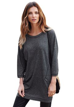 French Terry Zip Pocket Tunic by ellos®, HEATHER CHARCOAL
