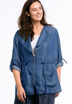 Zip Front Soft Tencel Denim Jacket by ellos®, DARK STONEWASH