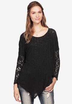 Point Hem Lace Sleeve Tunic by ellos®, BLACK