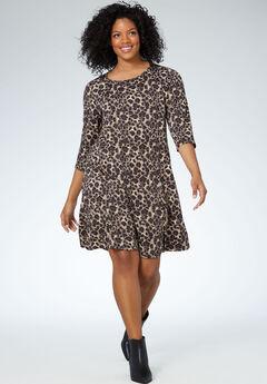 Madison 3/4 Sleeve Dress by ellos®, ANIMAL PRINT