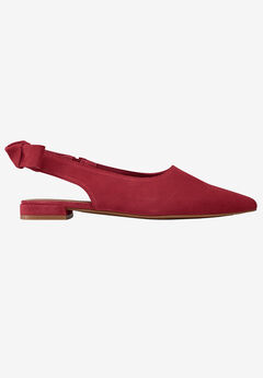 Slingback Bow Suede Flat by ellos®, MAROON RED