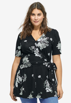 Printed Wrap Tunic by ellos®, BLACK GREY FLORAL