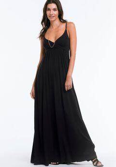 Knit Surplice Maxi Dress by ellos®, BLACK