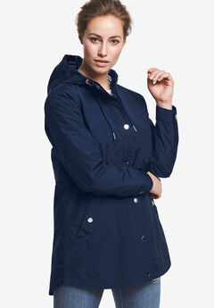 Snap-Front Hooded Raincoat, NAVY