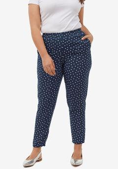 Woven Soft Pants by ellos®, NAVY/WHITE DOT