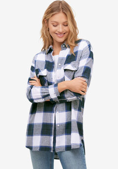 Plaid Button-Front Flannel Tunic,