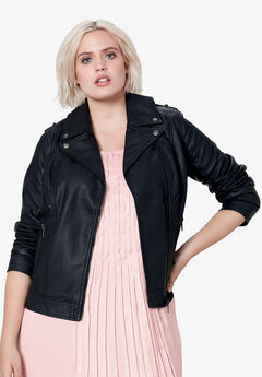 Faux Leather Moto Jacket by ellos®,