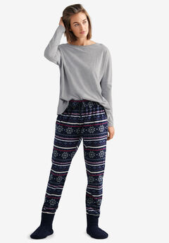 Fair Isle Fleece Pajama Pants,