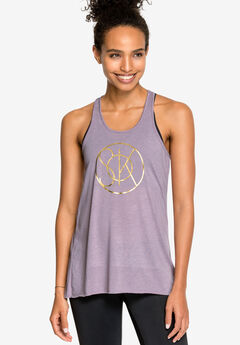 Racerback Screen Print Tank by ellos®, DARK LAVENDER SCREEN PRINT