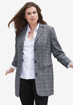 Long Wool Blend Blazer, BLACK WHITE PLAID