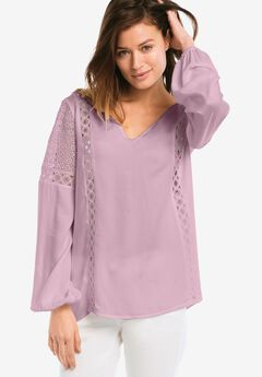 Crochet Lace Trim V-neck Blouse by ellos®,