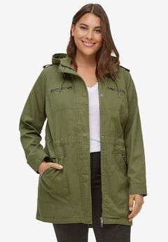 Hooded Anorak Denim Jacket, OLIVE GREEN TWILL
