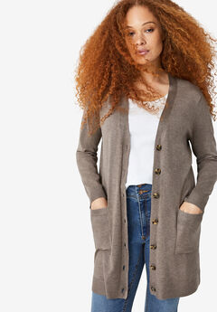 Long Boyfriend Cardigan With Tortoise Buttons,