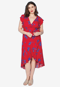 Floral Midi Wrap Dress by ellos®, POPPY RED FLORAL