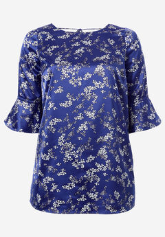 Satin Tie-Back Tunic by ellos®, BLUEBERRY DITSY