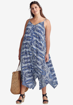 Printed Hanky Hem Dress by ellos®, NAVY/WHITE PAISLEY PRINT