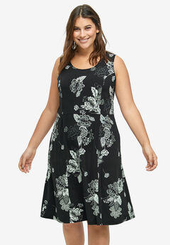 Fit and Flare Knit Dress by ellos®, BLACK GREY FLORAL