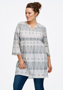 Smocked Empire Waist Tunic by ellos®,