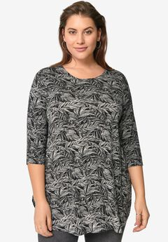 Three-Quarter Sleeve Curved Hem Tunic,