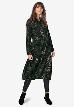 Tiered Midi Dress by ellos®, MIDNIGHT GREEN LEOPARD