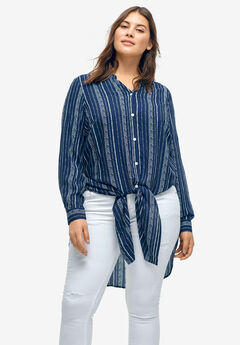 Long Button-Front Tunic by ellos®, NAVY/WHITE STRIPE