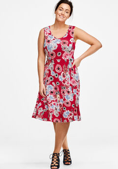 Fit and Flare Knit Dress by ellos®, RED FLORAL