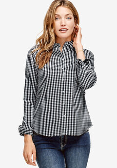 Button Down Shirt by ellos®, BLACK WHITE GINGHAM