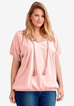 Notch Neck Blouson Tee by ellos®, PINK PEACH