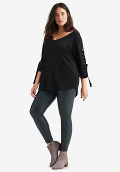 Lace-Up Sleeve Tunic by ellos®, BLACK