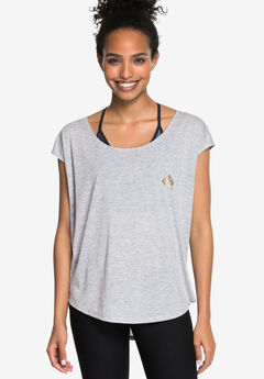 Relaxed Graphic Tee by ellos®, HEATHER GREY SCREEN PRINT