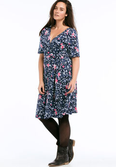 Wrap Dress by ellos®, NAVY FLORAL