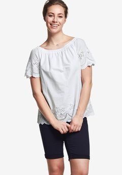 Smocked Neck Eyelet Blouse by ellos®,