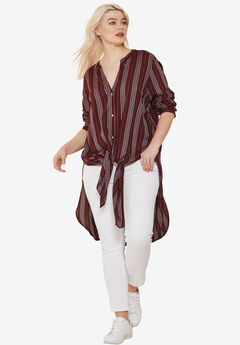 Long Button-Front Tunic by ellos®, MIDNIGHT BERRY STRIPE